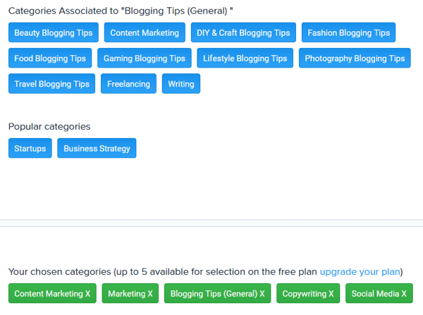 You can select up to five categories with Quuu's free plan.