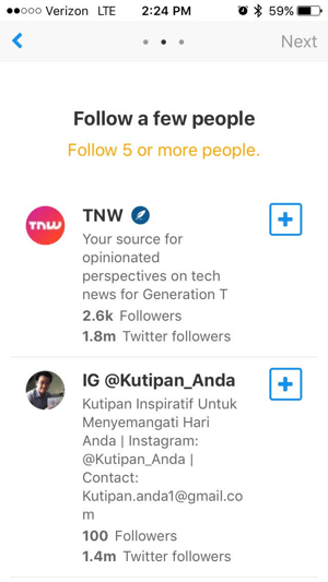 Refind suggests relevant influencers you may want to follow.