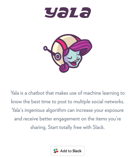 Click Add to Slack to install the Yala integration.