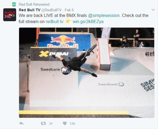 Red Bull has aligned its brand with extreme sports, so aligning its advertising with that interest makes sense.