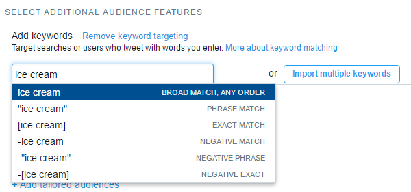 Enter a target keyword and then decide what type of keyword matching to use.