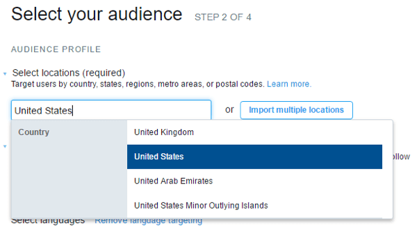 Select target locations for your Twitter ad campaign.