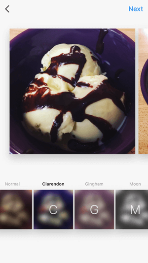 You can apply filters and edit an image individually, just as you would with a regular single image Instagram post.