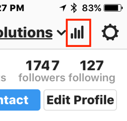 Tap the bar chart icon to access your Instagram Insights.