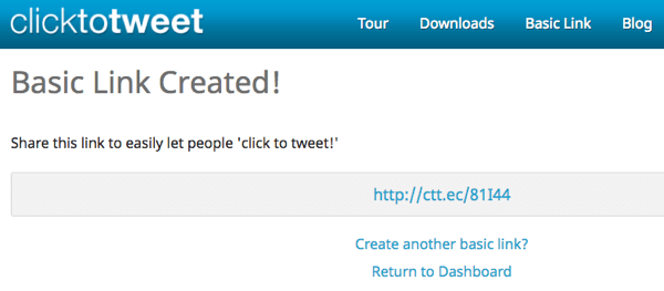 Insert the shortened link from Click to Tweet to create a clickable tweet that makes your content easy to share.