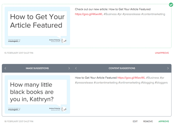After MissingLettr creates tweets about your blog post, you can edit all of the tweets to your liking.