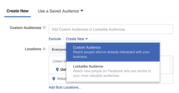 Click Create New and select Custom Audience.