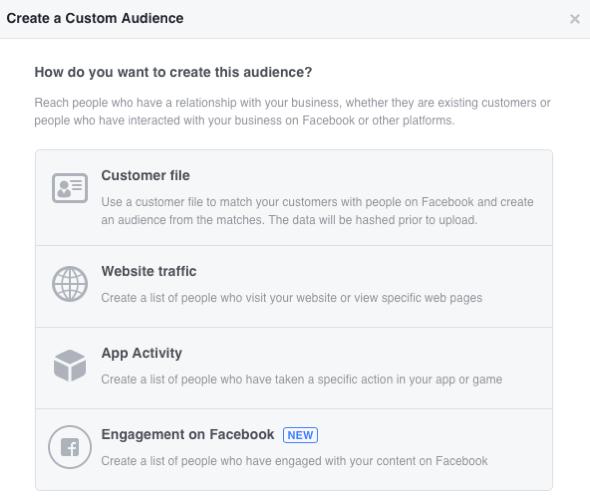 Scegli tra quattro categorie di pubblico personalizzate di Facebook.