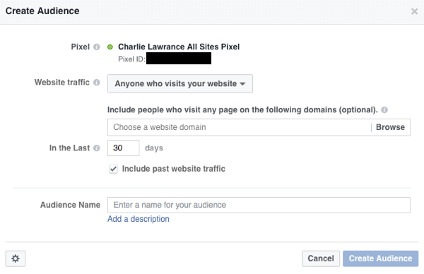 Create a website custom audience to retarget website visitors with Facebook ads.