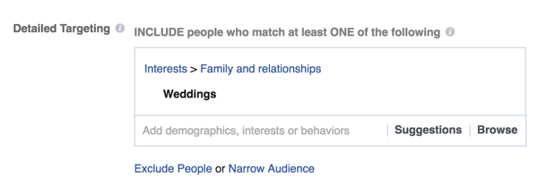 If you're a wedding retailer, target Weddings as an interest.