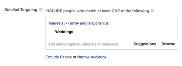 Se sei un rivenditore di matrimoni, scegli come target i matrimoni.