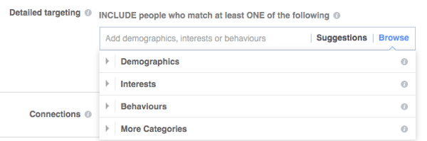 You can choose from a variety of detailed targeting options available at the ad set level.