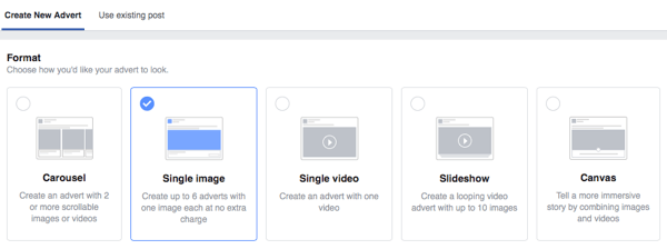 Select one of five different Facebook ad formats.