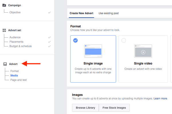 The bottom level of the Facebook campaign structure is where you choose your ad creative.