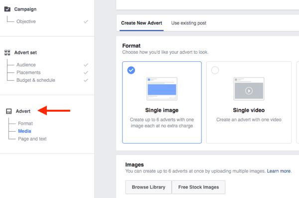 Il livello inferiore della struttura delle campagne di Facebook è dove scegli la tua creatività dell'annuncio.