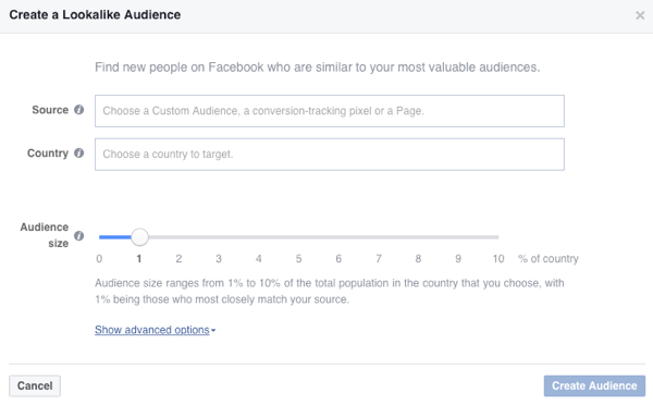 Creare un pubblico di sosia di Facebook basato su un pubblico esistente.