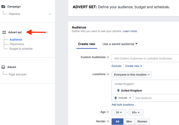 The middle level of the Facebook campaign structure is where you choose your targeting, placement, budget, and schedule.