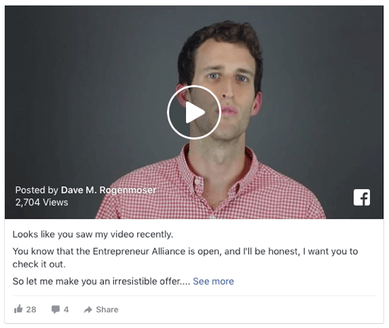 Retarget users who have engaged with your Facebook videos.