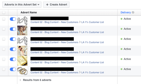 aCreate multiple Facebook ads and split test their performance.