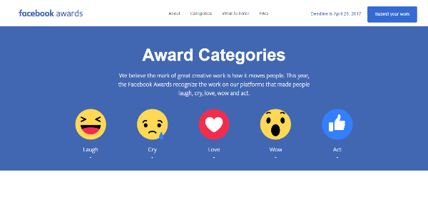 Facebook is now accepting submissions for the 2017 Facebook Awards, which honors the best campaigns on Facebook and Instagram.