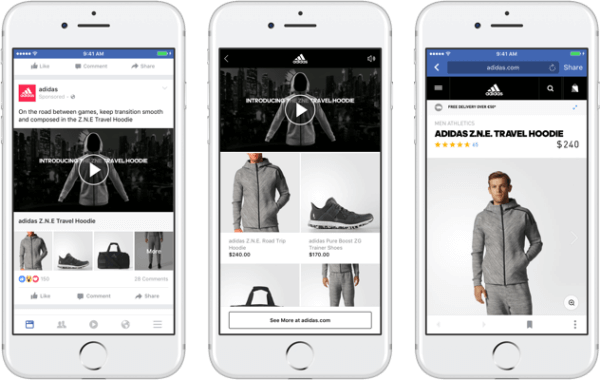 With Facebook's new collection ad format, brands can feature a primary video or image that lead to an immersive, fast-loading shopping experience on Facebook.