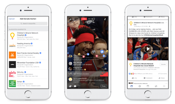 Facebook expands charitable giving tools to personal users and Facebook Live.