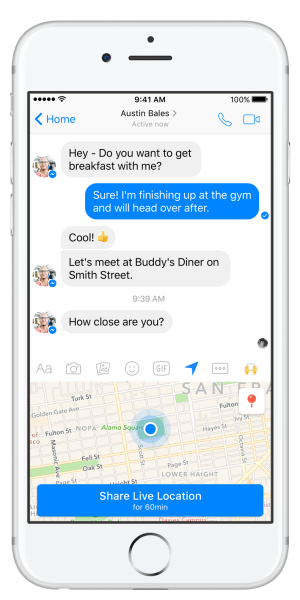 Facebook Messenger introduces Live Location feature.
