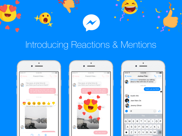 Facebook Messenger is rolling out Reactions and Mentions globally over the coming days.