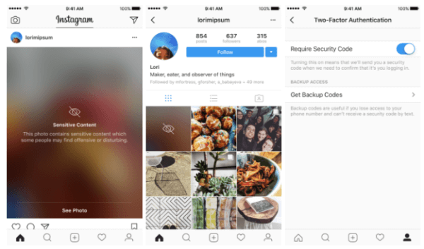 Instagram expands two-factor authentication to all users and begins blurring sensitive content.