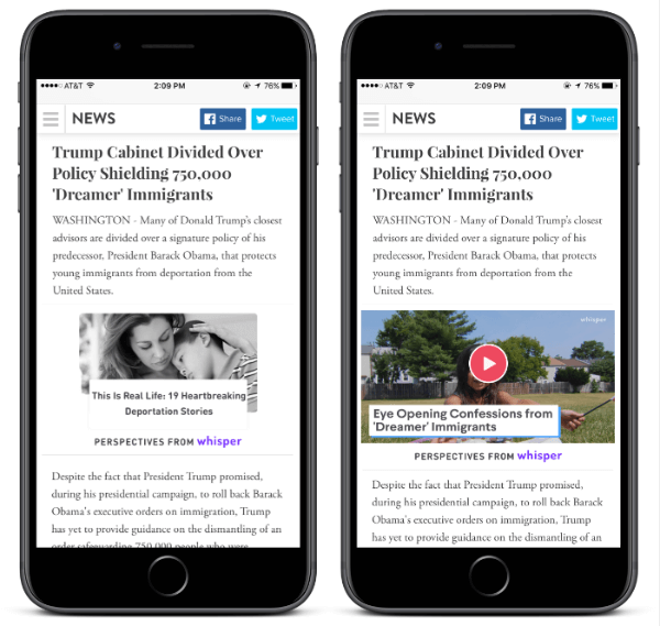 With Whisper's new Perspectives widget, any publisher can add to an article to provide their readers with contextually relevant perspectives from millions of Whisper users.
