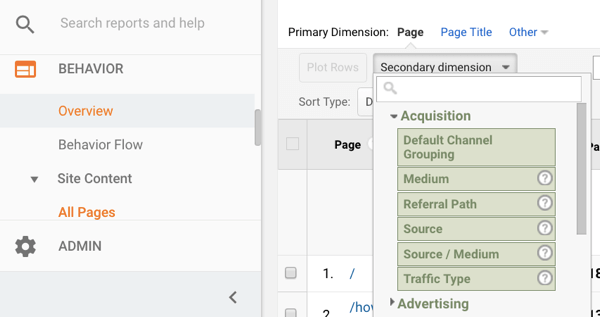 Google Analytics secondary dimension dropdown menu.