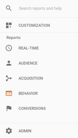 The five basic Google Analytics reports.