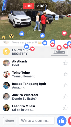 During your Facebook Live broadcast, you'll see user comments and reactions onscreen.