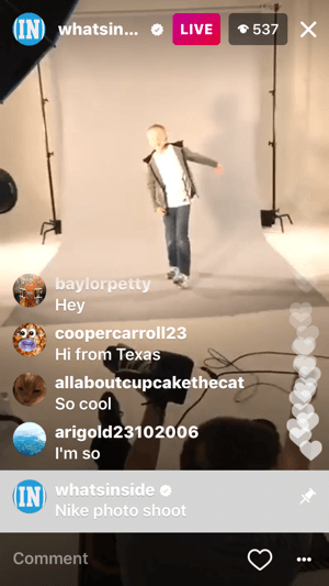 While you're broadcasting live on Instagram, you'll see viewer comments and hearts on the screen.