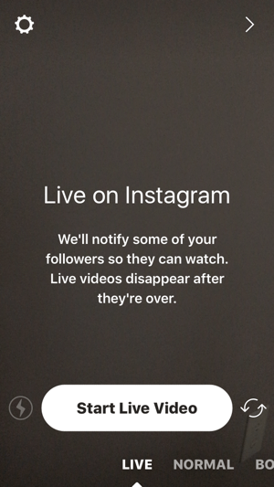 Tap the camera icon and then tap Start Live Video to start your Instagram live stream.