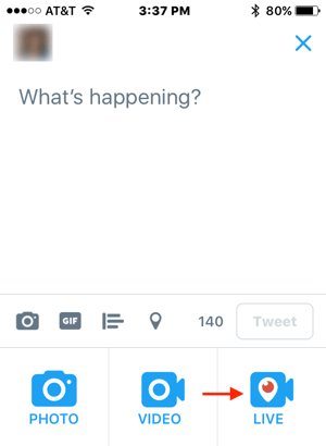 Tap Compose to create a new tweet and then tap the Live icon.
