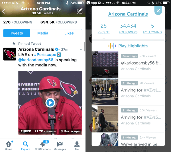 After your live broadcast ends, it stays in your Twitter timeline as a recorded video (left) and appears on Periscope (right).