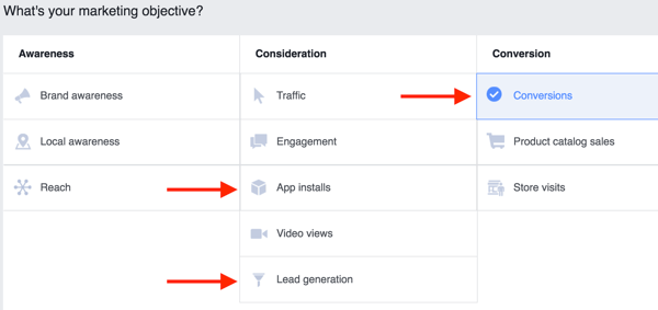 In Power Editor, select one of the highlighted objectives for your Facebook ad campaign.
