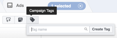 In Power Editor, click the Campaign Tags button.