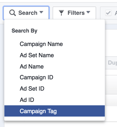 Search for Facebook ad campaigns by tag.