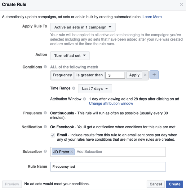 Set up a Facebook automated rule in Power Editor.