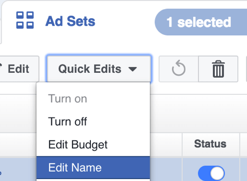 In Facebook Power Editor, select Edit Name from the Quick Edits drop-down menu.