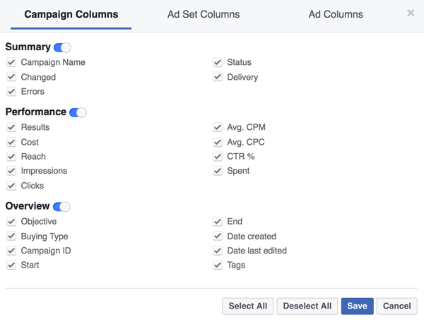 Customize Power Editor to show only the metrics that matter to your business.