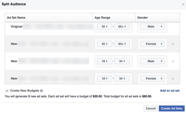 Split the audience and create new ad sets quickly in Power Editor.