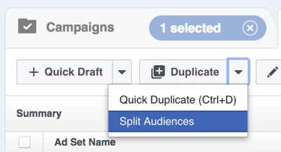 In Facebook Power Editor, click the arrow to the right of Duplicate and select Split Audiences.