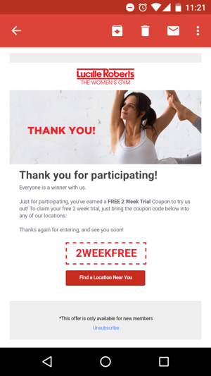 Send a follow-up email with a coupon to encourage contest entrants to become customers.