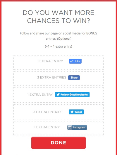 This share incentive click pop-up appears when an entrant clicks the button to enter the social media contest.