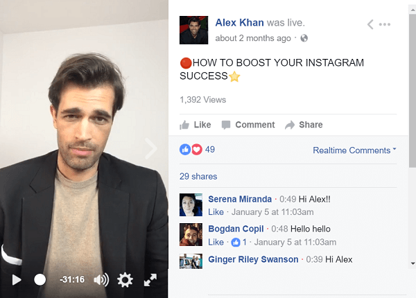Engagement is especially important in Facebook and Instagram Live videos.