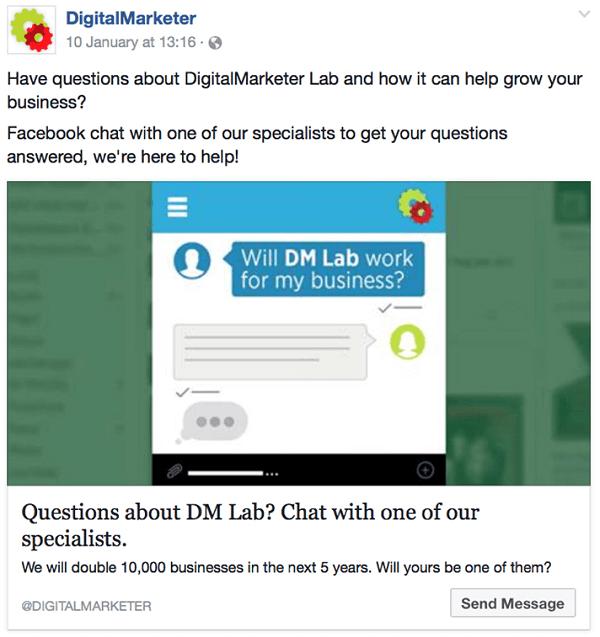 DigitalMarketer targets custom audiences with Destination Ads.