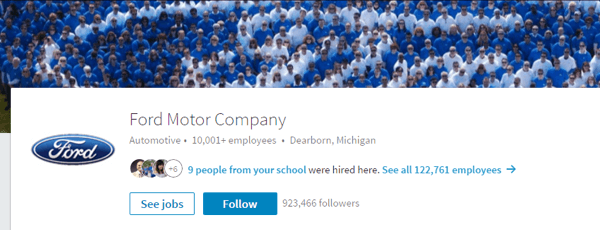 Ford Motor Company's LinkedIn page includes relevant images and up-to-date details.